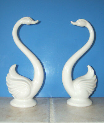 "Swan Figurines Pair Vintage Ceramic White ~ Maddux of California ~ 10.25"" Tall"