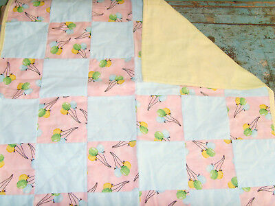 """EUC 23x24"""" handmade  baby or doll quilt Beautiful balloons pastel colors nursery"""