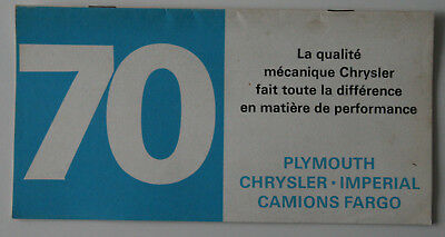 PLYMOUTH CHRYSLER IMPERIAL FARGO 1970 brochure - French - Canada - ST1002000318