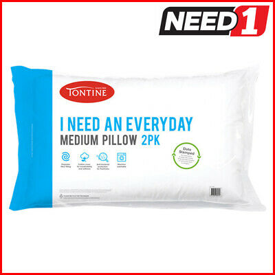TONTINE Twin Pack Medium Pillows | Anti-Bacterial | Breathable Soft Cotton