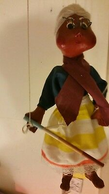 Marionette Puppet Old Lady String Puppet sewn leather fabric 12 inch rare