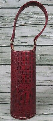 Red Wine Bottle Bag Alligator Imprint Faux Leather Bag Single Tote Carrier Cover