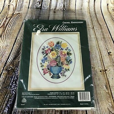 Vintage Elsa Williams Merton Vase II Crewel Embroidery Kit Sealed