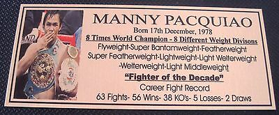 """Boxing Manny Pacquiao """"Pacman"""" career stats plaque photo """"Choose One"""""""