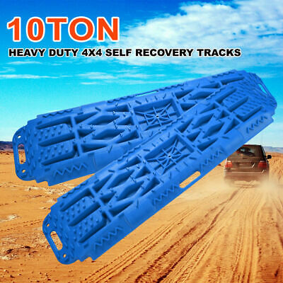 4x4 Recovery Tracks Off Road 4WD Sand Snow Mud Tyre Ladder 10 Ton Blue Pair
