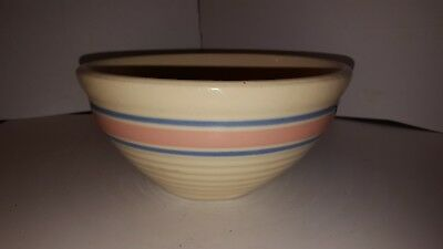 McCoy Pottery USA Nesting Mixing Ribbed Beehive Bowl Pink Blue Stripe 7.5 INCH