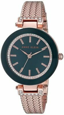 Anne Klein Navy And Rose Gold Tone Crystal Women's Watch