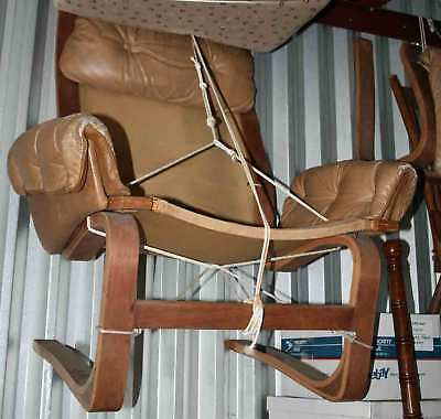 "Classic ""Directional"" NC Bent Wood Leather Chair & Ottoman-Post 1950 US Original"