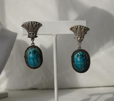 Art Deco Scarab Earrings Egyptian Revival Lotus Sterling Silver Antique c1920