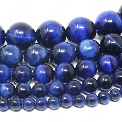 "Blue Tiger Eye Beads Round 4mm 6mm 8mm 10mm 12mm 15.5"" Strand"