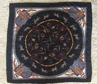 """Vintage Equestrian Motif French Silk Scarf Black Gray Gold Red White 32"""" X 33"""""""