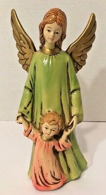 "Vtg 70s Guardian Angel & Child 10"" Figurine Japan Mache Composition Ardco? EVC"