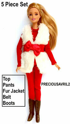New Barbie doll clothes outfit 3 piece set fur jacket, jumper & slacks casual