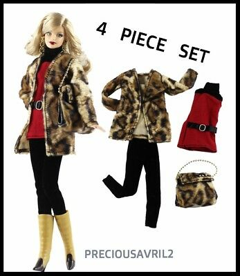 New Barbie doll clothes outfit 4 piece set fur jacket, top, slacks & bag casual