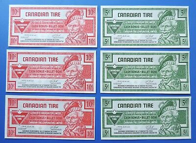 6  CTC Canadian Tire  5 and 10 cent notes coupons Unc