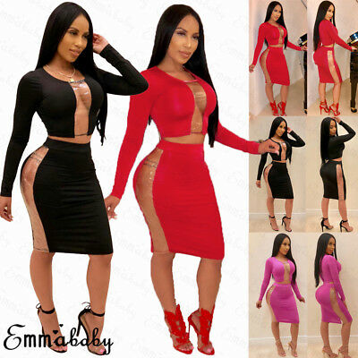 US Womens 2 Piece Bodycon Two Piece Crop Top and Skirt Set Bandage Party Dress