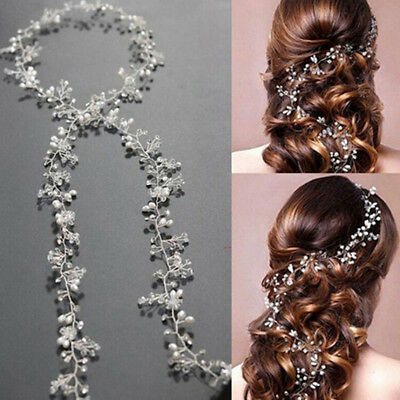 Women 50cm pearl rhinestone headbands wedding hair vine bridal accessories XW