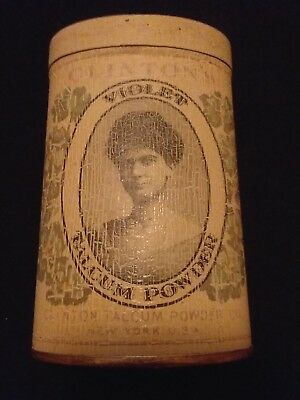 "Vintage ""CLINTON'S Violet Talcum Powder"" Talc Tin - Full"