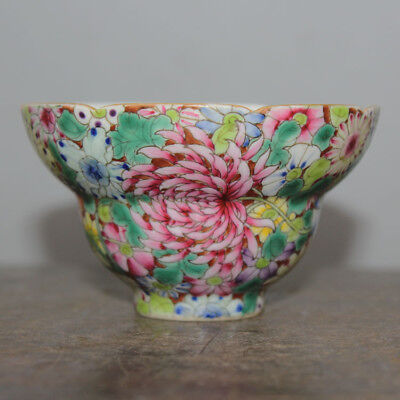 Chinese Old Marked Famille Rose Colored Flowers Pattern Fancy-Top Porcelain Cup