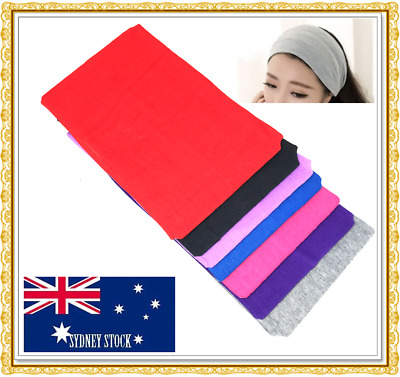 Plain Color Cotton Elastic Stretch Headband 13cm Wide Yoga Sports Gym Sweatband