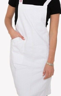 Front Of House Cross Back Apron In White