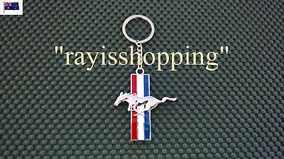 FORD Mustang Key Ring Keyring Keychain Chain Red, White, Blue & Silver Chrome