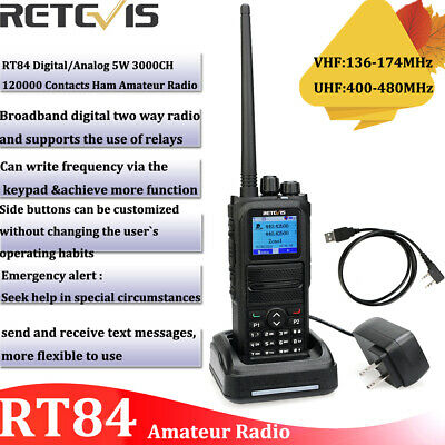 Retevis RT84 Dual Band Radio UHF/VHF DMR Walkie talkie Digital/Analog 3000CH