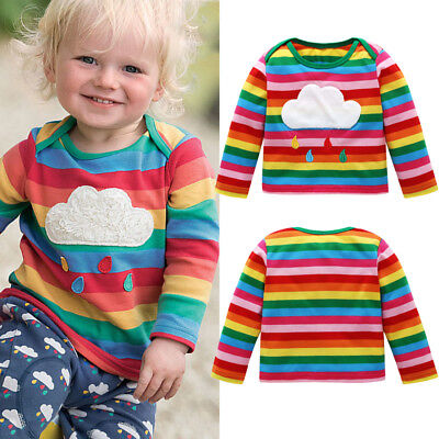 UK Stock Toddler Kids Girls Rainbow Striped Long Sleeve Tops T-shirt Clothes