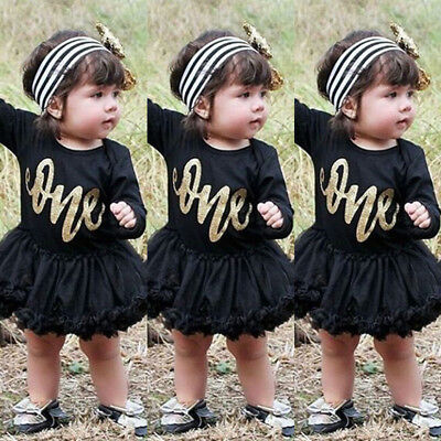US Newborn Baby Girls 1st Birthday Romper Bodysuit Tulle Dress 2Pcs Outfits Set