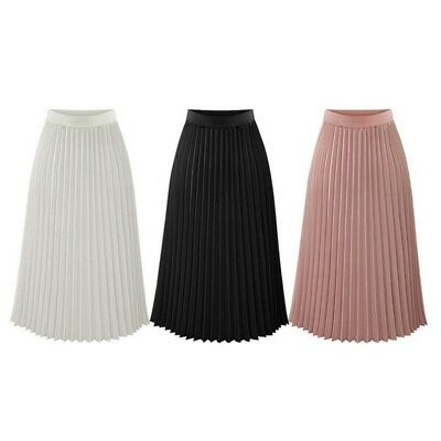 Women Long Pleated Midi Skirt Chiffon Elastic Waist Swing Flared Skater Skirt