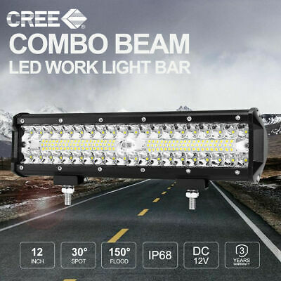12inch CREE LED Work Light Bar SPOT FLOOD Fog Driving 4x4 Reverse Off Road 3Rows