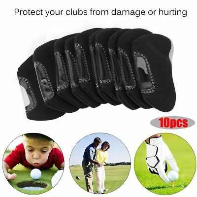 Neoprene Iron Head Covers Golf Club Black Protector Set Pack of 10