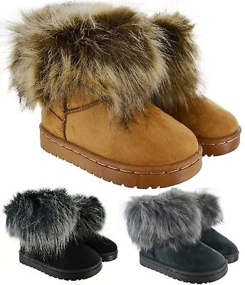Kids Girls Infants  Snugg Warm Winter Grip Sole Snow Fur Lined Hug Boots Sizes