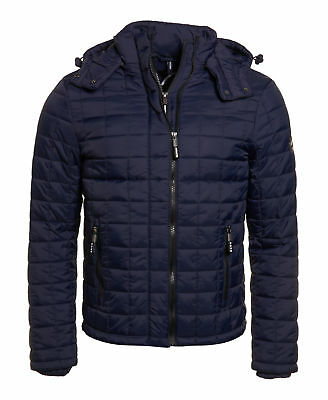 Mens Superdry Box Quilted Fuji Hooded Jacket Sport Code Navy