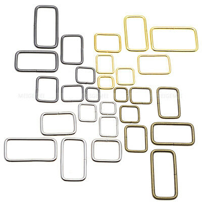 Metal wire formed rectangle ring loops for webbing 10 12 15 20 25 32 38 mm