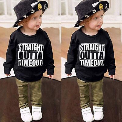 US Toddler Kid Baby Boys OUTTA TIMEOUT  Tops T-shirt Pants Leggings Outfits Set
