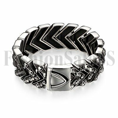 Punk Men's Wide Heavy Stainless Steel Skull Bracelet Jewelry Link Wristband Gift