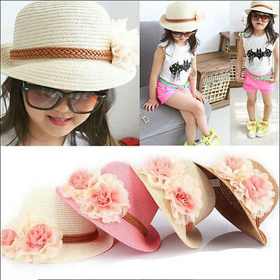 Beautiful Toddlers Infants Baby Girls Flower Summer Straw Sun Beach Hat Cap XW