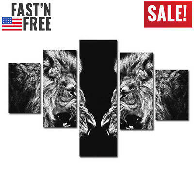 US 5PCS Lion Head Animal Canvas Print Wall Art Painting Picture Home Decor Frame