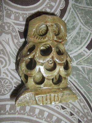 """Owl With Baby Inside Vtg 3"""" Hand Carved Polished Stone Marble Soapstone Figurine"""