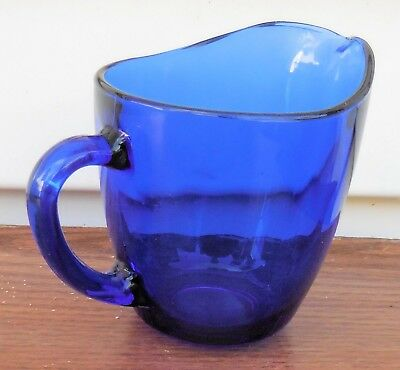 ANCHOR HOCKING Cobalt Blue Glass Creamer Pitcher Marked (EUC)