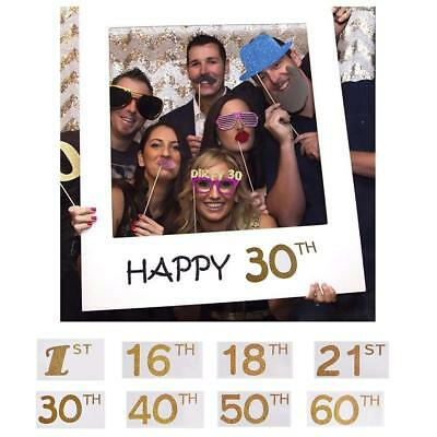16/18/30/40/50th 21st Frame Photo Booth Props Paper Happy Birthday Party Decor