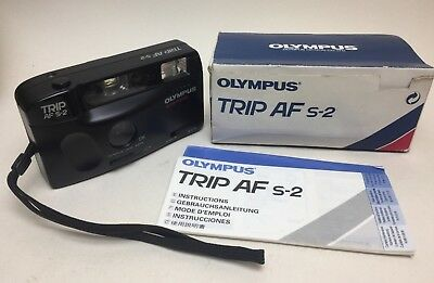 OLYMPUS TRIP AF S-2 35mm POINT & SHOOT CAMERA AFS2 BOXED WORKING LOMOGRAPHY LOMO