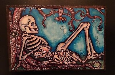 Day of Dead Dia de los Muertos Magnet - Skeleton with Dog - Large