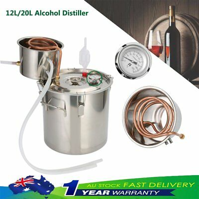 3/5Gal 12L 20L Alcohol Moonshine Water Copper Home Stainless Alcohol Distiller