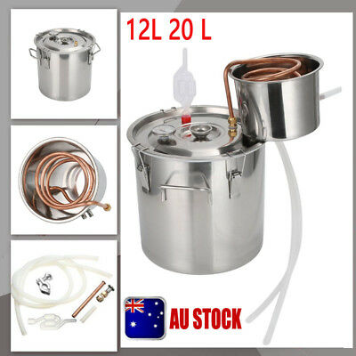 AU 12L 20L Alcohol Moonshine Water Copper Home Stainless Alcohol Distiller Kit