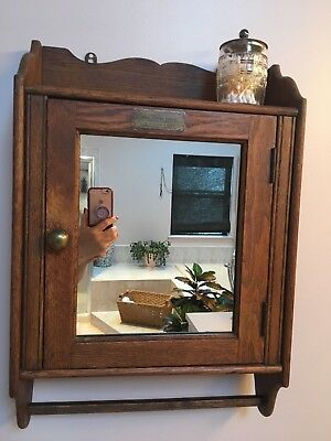 Vintage 1910 / 1935  Oak Medicine Bathroom Cabinet with Cut Mirror & Towel Bar.