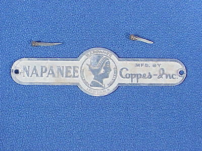 NAPANEE  Cabinet Co. - Original Metal Tag / Nameplate & Nails - Coppes-Inc.