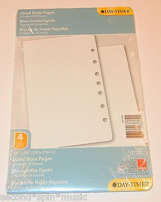"""Day-Timer Lined Note Pages Loose-Leaf Desk Size 5.5 x 8.5"""" Size 4 Format"""
