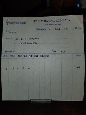 Rare 1916 TastyKake Tasty Baking Co. Receipt